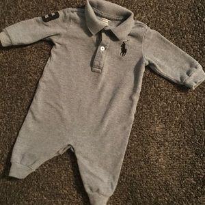 3M Ralph Lauren Baby Boy Gray/Blue Polo Coverall